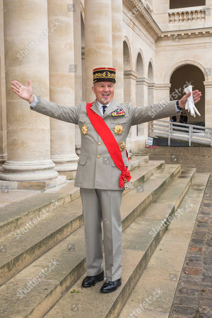French General Jean-Louis Georgelin arrives to attend the wedding of prince Napoleon and Countess Olympia Arco-Zunneberg  at the Saint-Louis-des-Invalides cathedral at the Invalides National Hotel in Paris, France, 19 October 2019.
