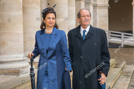 Portugal's Duke of Braganza Duarte Pio and Isabel de Heredia arrive for the wedding ceremony of the Prince Napoleon Countess Arco-Zunneberg  at the Saint-Louis-des-Invalides cathedral at the Invalides National Hotel  in Paris, France, 19 October 2019.