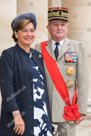 French General Benoit Puga (and his wife arrive for the wedding ceremony of the Prince Napoleon Countess Arco-Zunneberg  at the Saint-Louis-des-Invalides cathedral at the Invalides National Hotel  in Paris, France, 19 October 2019.