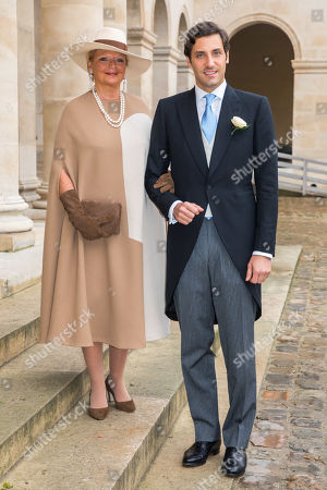 Prince Jean-Christophe Napoleon (R) arrives with his mother Princess Beatrice of Bourbon-Two Sicilies (L)  to attend his wedding with Countess Arco-Zunneberg (unseen) at the Saint-Louis-des-Invalides cathedral at the Invalides National Hotel  in Paris, France, 19 October 2019.