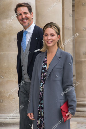 Crown Prince Pavlos of Greece (L) and Crown Princess Marie-Chantal arrive to attend the wedding ceremony of the Prince Napoleon with Countess Arco-Zunneberg (unseen) at the Saint-Louis-des-Invalides cathedral at the Invalides National Hotel  in Paris, France, 19 October 2019.