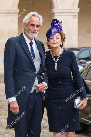 Father of the groom, Prince Charles Napoleon (L) and mother of the bride, countess Marie Beatrice von und zu Arco-Zinnneberg arrive at the Saint-Louis-des-Invalides cathedral at the Invalides National Hotel in Paris, France, 19 October 2019, to attend the wedding ceremony of the Prince Napoleon with Countess Arco-Zunneberg (unseen).