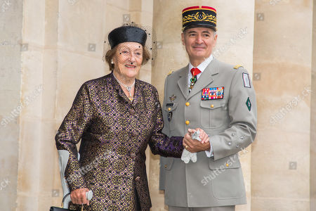 Princess Napoleon Alix de Foresta, (L) grandmother of the groom poses outside the Saint-Louis-des-Invalides cathedral at the Invalides National Hotel in Paris, France, 19 October 2019, to attend the wedding ceremony of the Prince Napoleon with Countess Arco-Zunneberg (unseen).