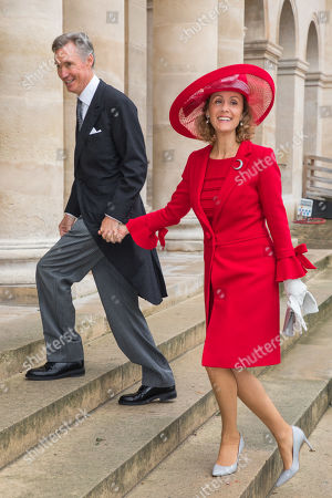 Princess Sibilla (R) and Prince Guillaume of Luxembourg (L) arrive at the Saint-Louis-des-Invalides cathedral at the Invalides National Hotel in Paris, France, 19 October 2019 (issued 21 October 2019), to attend the wedding ceremony of the Prince Napoleon with Countess Arco-Zunneberg (unseen).