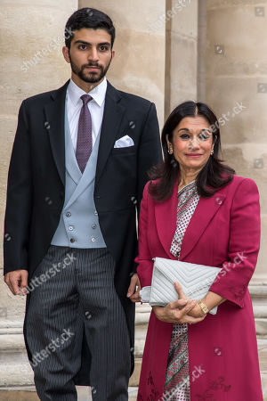 Princess Sarvath El Hassan of Jordan (R) and her son Prince Rashid bin El Hassan of Jordan (L) , pose for photographs outside the Saint-Louis-des-Invalides cathedral at the Invalides National Hotel in Paris, France, 19 October 2019, to attend the wedding ceremony of the Prince Napoleon with Countess Arco-Zunneberg (unseen).