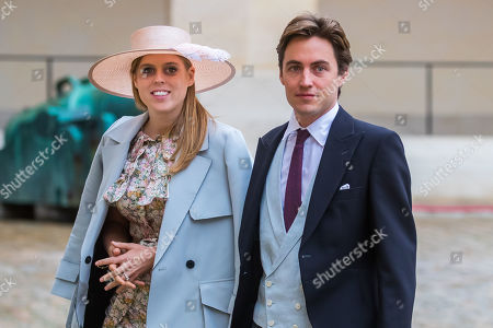 Britain's Princess Beatrice of York (L) and her betrothed Edoardo Mapelli Mozzi (R) arrive for the wedding ceremony of the Prince Napoleon Countess Arco-Zinneberg  at the Saint-Louis-des-Invalides cathedral at the Invalides National Hotel  in Paris, France, 19 October 2019.