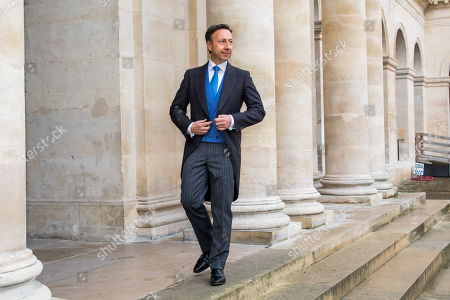 Stock Image of French TV host Stephane Bern arrives prior to the wedding ceremony of the Prince Napoleon with Countess Arco-Zinneberg (both unseen) at the Saint-Louis-des-Invalides cathedral at the Invalides National Hotel  in Paris, France, 19 October 2019.