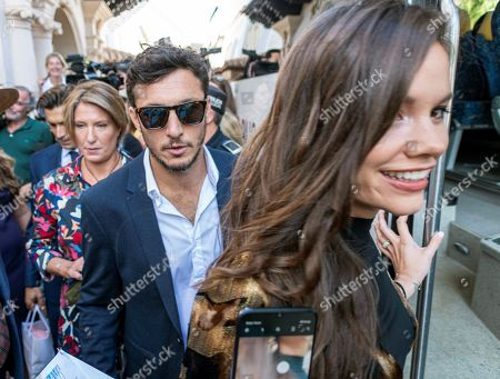 Former Argentinian tennis player Juan Monaco (C) and his girlfriend Diana Arnopoulos (R) leave a hotel in Pollenca, Mallorca, Balearic Islands, Spain, 19 October 2019, to attend Spanish tennis player Rafael Nada's wedding. Nadal will marry long-tim partner Maria Francisca Perello 'Xisca' on a private ceremony held at the Pollenca Bay in Mallorca.