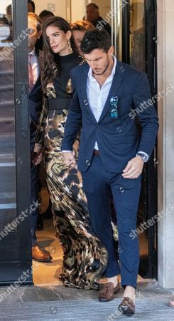 Former Argentinian tennis player Juan Monaco (R) and his girlfriend Diana Arnopoulos (L) leave a hotel in Pollenca, Mallorca, Balearic Islands, Spain, 19 October 2019, to attend Spanish tennis player Rafael Nada's wedding. Nadal will marry long-tim partner Maria Francisca Perello 'Xisca' on a private ceremony held at the Pollenca Bay in Mallorca.