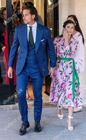 Spanish tennis player Feliciano Lopez (L) and his wife Sandra Gago (R) leave a hotel in Pollenca, Mallorca, Balearic Islands, Spain, 19 October 2019, to attend Spanish tennis player Rafael Nada's wedding. Nadal will marry long-tim partner Maria Francisca Perello 'Xisca' on a private ceremony held at the Pollenca Bay in Mallorca.