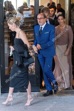 Founder of Swiss luxury watchmaking brand Richard Mille (C), leaves a hotel in Pollenca, Mallorca, Balearic Islands, Spain, 19 October 2019, to attend Spanish tennis player Rafael Nada's wedding. Nadal will marry long-tim partner Maria Francisca Perello 'Xisca' on a private ceremony held at the Pollenca Bay in Mallorca.