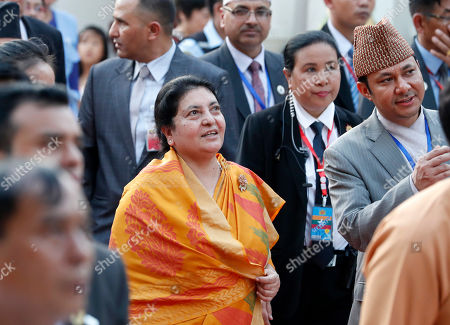 Nepal's President Bidhya Devi Bhandari (C) visits the Shwedagon pagoda in Yangon, Myanmar, 19 October 2019. Nepal's president Bidhya Devi Bhandari is on a four-day visit to Myamar and met with Myanmar president and State Counselor Aung San Suu Kyi in Naypyitaw.