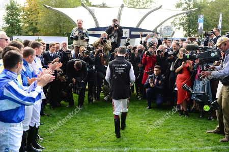 Stock Picture of ASCOT. Jockey OISIN MURPHY heading to collect his Champion Jockey trophy.