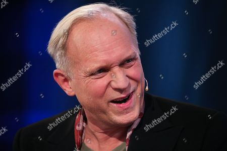 German actor Ulrich Tukur speaks during an interview at Frankfurt Book Fair 2019 in Frankfurt Main, Germany, 19 October, 2019. The 71st edition of the international Frankfurt Book Fair, described as the world's most important fair for the print and digital content business, runs from 16 to 20 October and gathers authors, writers and celebrities from all over the world.