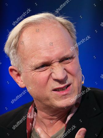 Stock Photo of German actor Ulrich Tukur speaks during an interview at Frankfurt Book Fair 2019 in Frankfurt Main, Germany, 19 October, 2019. The 71st edition of the international Frankfurt Book Fair, described as the world's most important fair for the print and digital content business, runs from 16 to 20 October and gathers authors, writers and celebrities from all over the world.