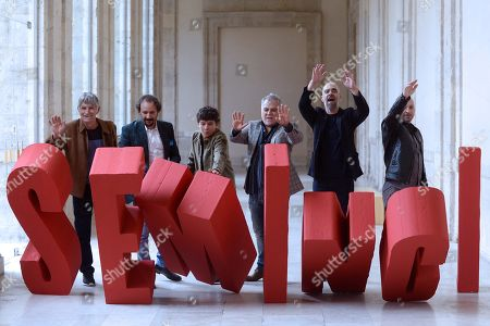 Luis Tosar (2-R) and Jaime Lopez (3-L) and Direcotr Benito Zambrano (3-R), among others cast members, pose for the media during the photocall of the film 'Intemperie' during the 64th International Cinema Week of Valladolid (Seminci), in Valladolid, Spain, 19 October 2019.
