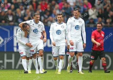 13.10..2019, Football Abschiedsspiel Rafael van Vaart, Rafa's HSV Stars - Rafa's All Stars Volksparkstadium Hamburg. celebration (L-R) scorer Piotr Trochowski (Rafa's HSV Stars), Khalid Boulahrouz (Rafa's HSV Stars), Benjamin Lauth (Rafa's HSV Stars) and Daniel van Buyten (Rafa's HSV Stars)   2:1