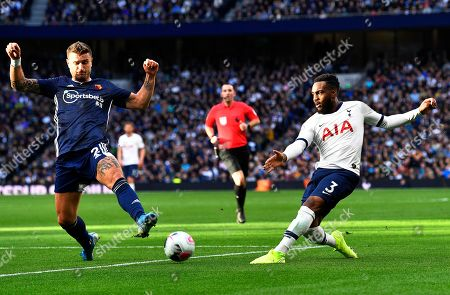 Tottenham Hotspur's Danny Rose (R) in action against Watford's Daryl Janmaat (L) during the English Premier League soccer match between Tottenham Hotspur and Watford FC in London, Britain, 19 October 2019.