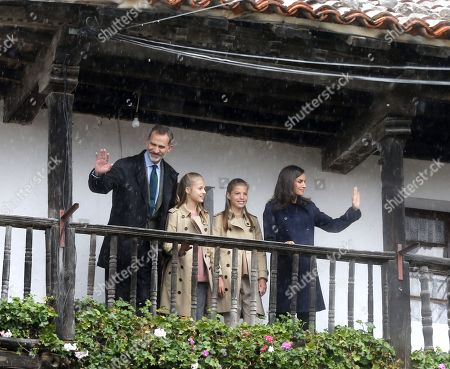 King Felipe VI of Spain (L), Crown Princess Leonor (2L), infanta Sofia (2R) and Queen Letizia (R) visit Asiegu, small village winner of the Exemplary Town of Asturias Award, in Asturias, Spain, 19 October 2019. The town was awarded with the traditional prize for keeping their traditions and for their project of rural development.