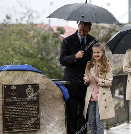 King Felipe VI of Spain (L) and his daughter Crown Princess Leonor (R) visit Asiegu, small village winner of the Exemplary Town of Asturias Award, in Asturias, Spain, 19 October 2019. The town was awarded with the traditional prize for keeping their traditions and for their project of rural development.