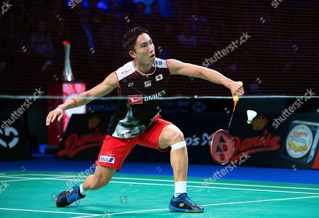 Kento Momota of Japan in action against Tommy Sugiarto of Indonesia during their men's singles semi final at the Danisa Denmark Open Badminton tournament in Odense, Denmark, 19 October 2019.