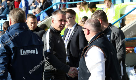 Peterborough United Manager Darren Ferguson shakes hands with Gillingham manager Steve Evans before the match
