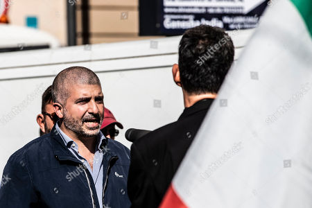 Thousands of protesters are gathering in Rome for a 'Orgoglio Italiano' rally (Italian Pride), which brings together the right-wing League of Matteo Salvini, the far-right Brothers of Italy of Giorgia Meloni, the neo-fascists of CasaPound and former premier Silvio Berlusconi's Forza Italia. In the picture Simone Di Stefano, leader CasaPound.