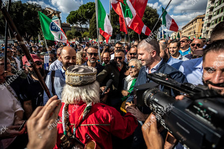 Stock Image of Thousands of protesters are gathering in Rome for a 'Orgoglio Italiano' rally (Italian Pride), which brings together the right-wing League of Matteo Salvini, the far-right Brothers of Italy of Giorgia Meloni, the neo-fascists of CasaPound and former premier Silvio Berlusconi's Forza Italia. In the picture Simone Di Stefano, leader CasaPound.