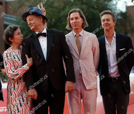 Bill Murray, Frances McDormand, Wes Anderson, Edward Norton. From left, actors Frances McDormand and Bill Murray pose with directors Wes Anderson and Edward Norton on the red carpet of Murray's lecture at the Rome Film Fest in Rome