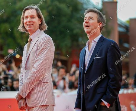Wes Anderson, Edward Norton. Directors Wes Anderson, left, and Edward Norton pose on the red carpet of Bill Murray's lecture at the Rome Film Fest in Rome
