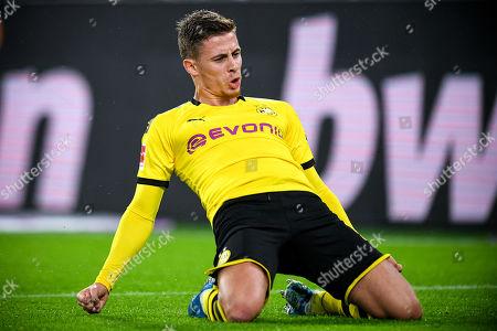 Dortmund's Thorgan Hazard celebrates after scoring an offside goal during the German Bundesliga soccer match between Borussia Dortmund and Borussia Moenchengladbach in Dortmund, Germany, 19 October 2019.