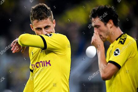 Dortmund players Thorgan Hazard (L) and Thomas Delaney (R) react during the German Bundesliga soccer match between Borussia Dortmund and Borussia Moenchengladbach in Dortmund, Germany, 19 October 2019.