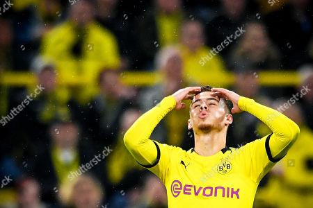 Dortmund's Thorgan Hazard reacts during the German Bundesliga soccer match between Borussia Dortmund and Borussia Moenchengladbach in Dortmund, Germany, 19 October 2019.