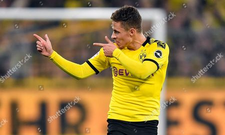 Stock Photo of Dortmund's Thorgan Hazard celebrates his goal before it is canceled by the video referee during the German Bundesliga soccer match between Borussia Dortmund and Borussia Moenchengladbach in Dortmund, Germany