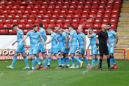 Luke Varney celebrates his goal with team mates  during the EFL Sky Bet League 2 match between Walsall and Cheltenham Town at the Banks's Stadium, Walsall