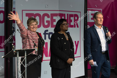 Members of the Shadow Cabinet (L-R) Emily Thornberry, Diane Abbott and Keir Starmer attend a rally in Parliament Square as hundreds of thousands of people take part in the anti Brexit 'Together for the Final Say' march through central London to demand a public vote on the outcome of Brexit.