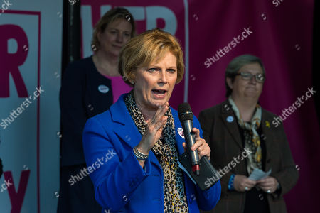 Anna Soubry, leader of The Independent Group for Change, speaks during a rally in Parliament Square as hundreds of thousands of people take part in the anti Brexit 'Together for the Final Say' march through central London to demand a public vote on the outcome of Brexit.