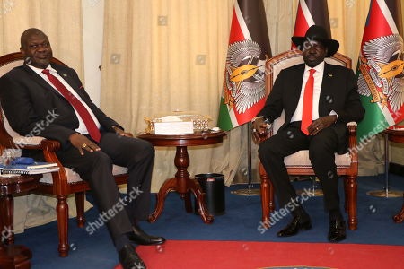 South Sudan's President Salva Kiir (R) meets with former rebel leader Riek Machar (L) in Juba, Soth Sudan, 19 October 2019. According to reports, Machar returned to Juba for meeting with Kiir ahead of a deadline to form a unity government that was expected to be on 12 November.