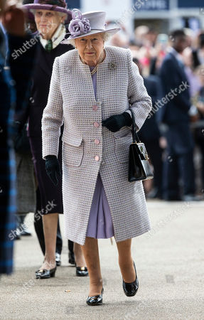 Queen Elizabeth II arrives for the Champions day race meeting at Ascot