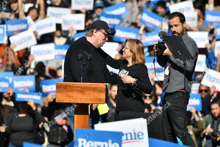 Michael Moore and Carmen Yulin Cruz speech at a rally at Queen bridge Park in Queens