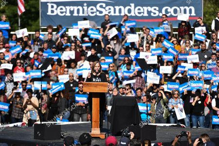 Stock Photo of Carmen Yulin Cruz speech at a rally at Queen bridge Park in Queens