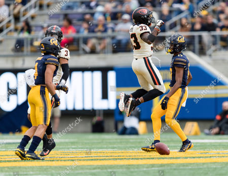 Stock Image of Oregon State Beavers defensive back Jalen Moore (33) reacts after a pass by the California Golden Bears is broken up in the third quarter of an NCAA college football game in Berkeley, Calif., . Oregon St. won 21-17