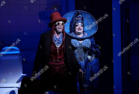 Daniel Norman as Orpheus the Myth and Claire Barnett Jones as Eurydice the Myth. English National Opera at London Coliseum
