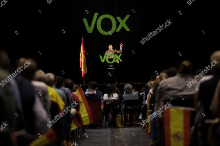 Stock Photo of General Secretary of extreme right party Vox Javier Ortega Smith attends an electoral event held in Zaragoza, Spain, 19 October 2019. Spain will be holding elections 10 November after acting Prime Minister Pedro Sanchez failed to form Government.
