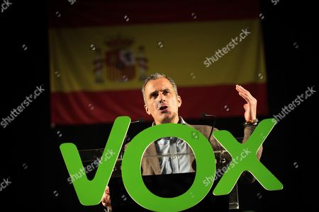General Secretary of extreme right party Vox Javier Ortega Smith attends an electoral event held in Zaragoza, Spain, 19 October 2019. Spain will be holding elections 10 November after acting Prime Minister Pedro Sanchez failed to form Government.