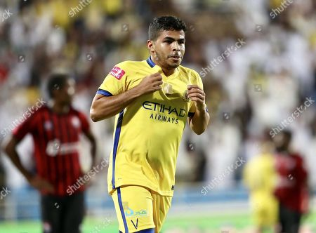 Al-Nassr's Yahya Al Shehri celebrates after scoring the 2-0 lead during the Saudi Arabia Professional League soccer match between Al-Raed FC and Al-Nassr FC at King Abdullah Sport City Stadium in Buraydah, Saudi Arabia, 19 October 2019.