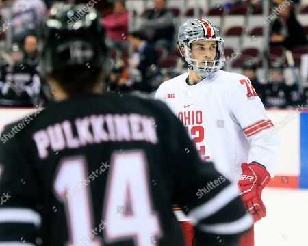 Ohio State Buckeyes right wing Carson Meyer (72) in between whistles against Nebraska-Omaha in their game in Columbus, Ohio