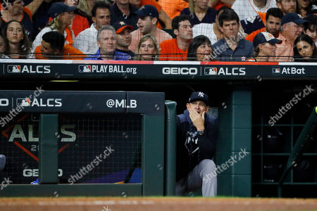 New York Yankees manager Aaron Boone watches during the fourth inning in Game 6 of baseball's American League Championship Series against the Houston Astros, in Houston