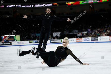 Ashley Cain-Gribble and Timothy Leduc for the US in action during the Pairs Free Skating of the 2019 Skate America competition at the Orleans Arena in Las Vegas, Nevada, USA, 19 October 2019.