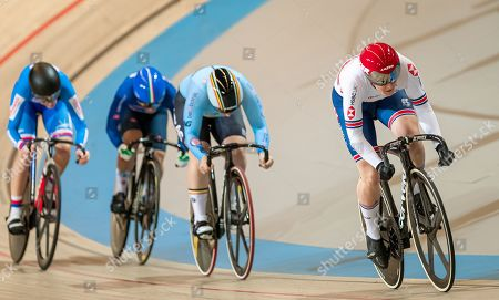 Katy Marchant of Great Britain during the Women's Keirin first round.